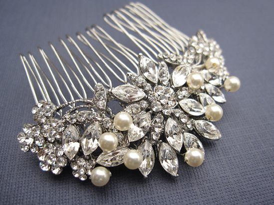 Vintage Inspired  Pearls bridal hair comb by EverythingBride, $49.00