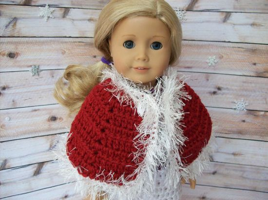 American Girl doll clothes  Red crocheted cape by StylinDolls, $13.00