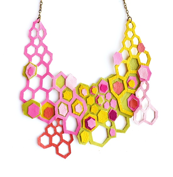 Neon Leather Necklace Molecular Geometric Hexagons. $72.00, via Etsy.