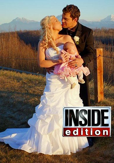 Levi Johnston and Sunny Oglesby. The Playgirl model and Oglesby got hitched Oct. 28 2012 in Wasilla, Alaska. The wedding was officiated by Johnston's friend, Crosby Marrow. Johnston wore a Hugo Boss red label tuxedo and a camouflage vest and bow tie.