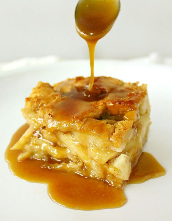 Apple Rum Bread Pudding with Butterscotch Rum Sauce..