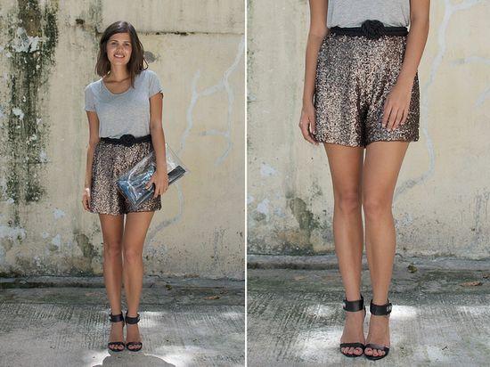 a pair and a spare . diy fashion: DIY SEQUIN SHORTS