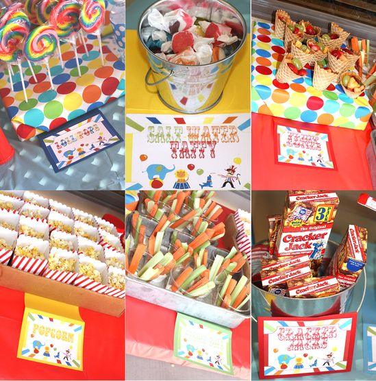 Carnival Birthday Party Signs Circus Birthday Party Signs Printable DIY Small Table Signs  Food Signs (digital version). $8.99, via Etsy.