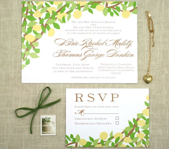 Rustic Lemon Wedding Invite