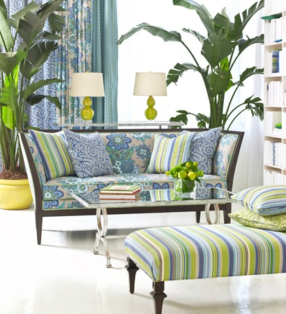 bold patterns, greens and blues
