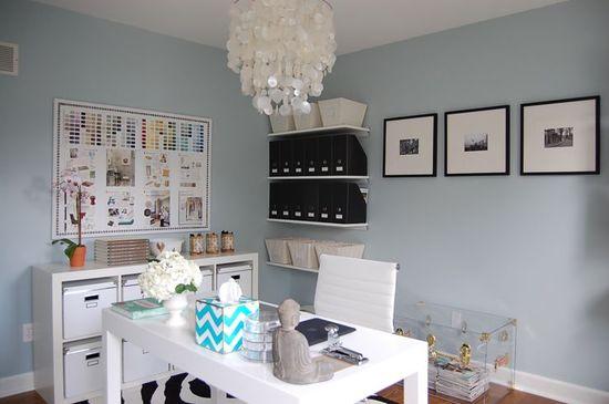 Suzie: My Office  white denim fabric bulletin board with nalhead trim, blue gray walls paint ...