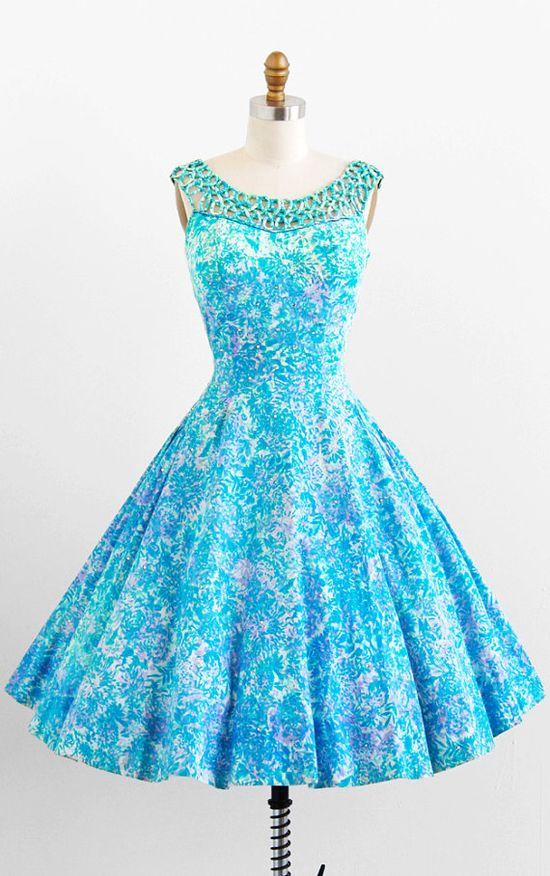 vintage 1950s teal + lavender floral print cotton + rhinestones party dress