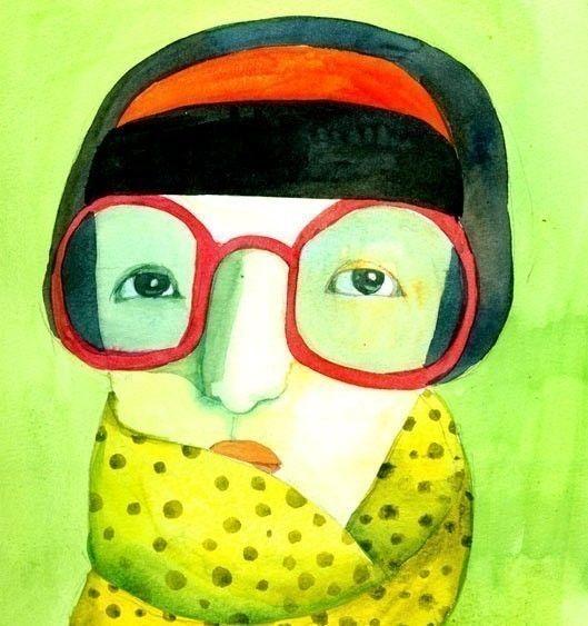 green portrait  print by behappynow on Etsy, $17.00