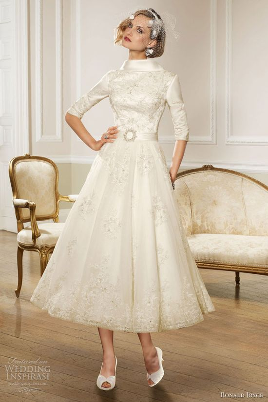ronald joyce bridal 2013 sleeve tea length wedding dress