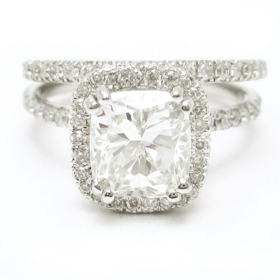 Cushion Cut Diamond Engagement Ring with thin band and matching wedding ring