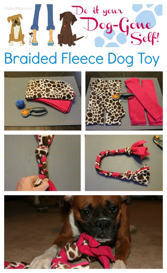 { Do it your Dog-Gone Self! }  How to make a braided fleece rope dog toy!  Easy, cheap DIY Dog toys from CraftedNIche.com