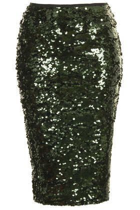 amazing green sequined pencil skirt
