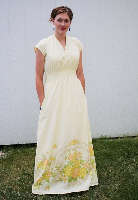 yellow maxi dress from vintage sheet
