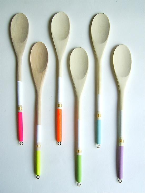 Modern Neon Hardwood Serving Spoons, Set of 6. $22.00, via Etsy.