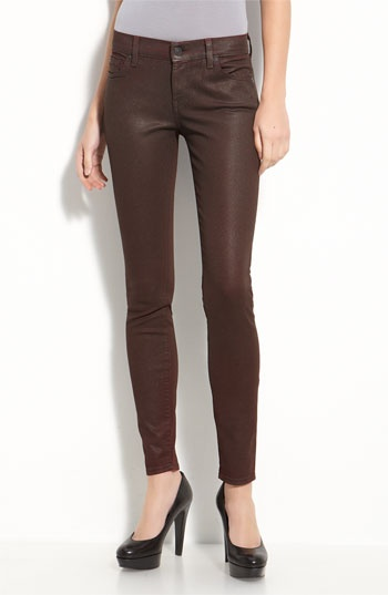 7 For All Mankind® 'The Shimmer' Coated Skinny Leg Jeans (Brick Wash)