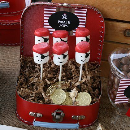 Pirate Marshmallow Pops, now who can I convince to have a pirate party?