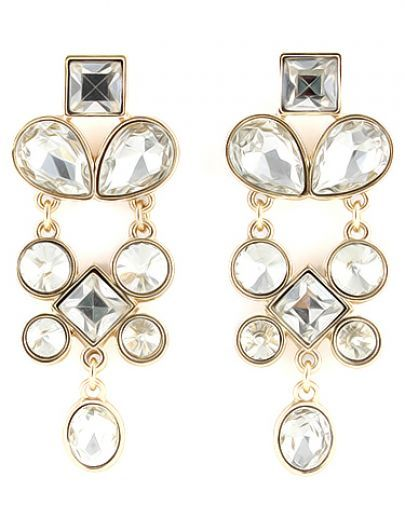 Gold Geometric Diamond Earrings pictures