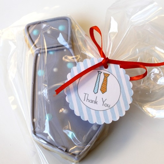 Tie decorated cookies - super cute tag too!