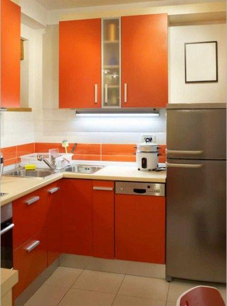 Orange Small Kitchen Design Ideas - Kitchen