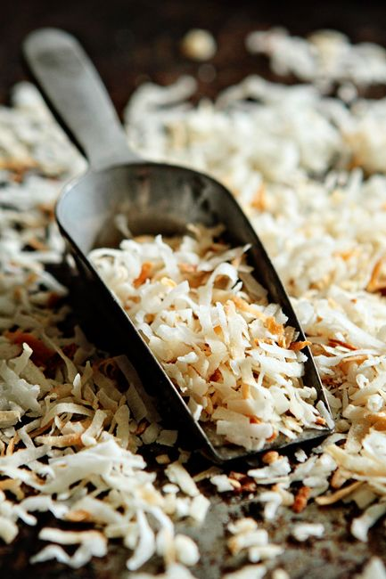 Toasted Coconut - we mix it in with our rice & scallion dish and on top of our ice cream & chocolate cake...NOM!!
