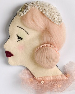 There is something so delightfully whimsical about this marvelous fabric brooch. #brooch #pin #jewelry #fabric #woman #pink #vintage