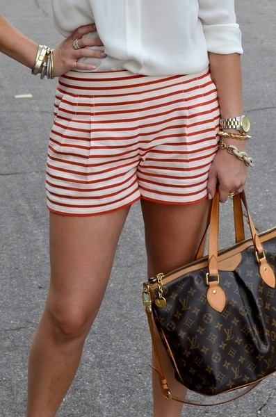 white blouse, red + white striped shorts, Louis Vuitton bag, gold watch, bracelets