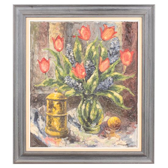 Vintage Tulips Framed Canvas Oil Painting