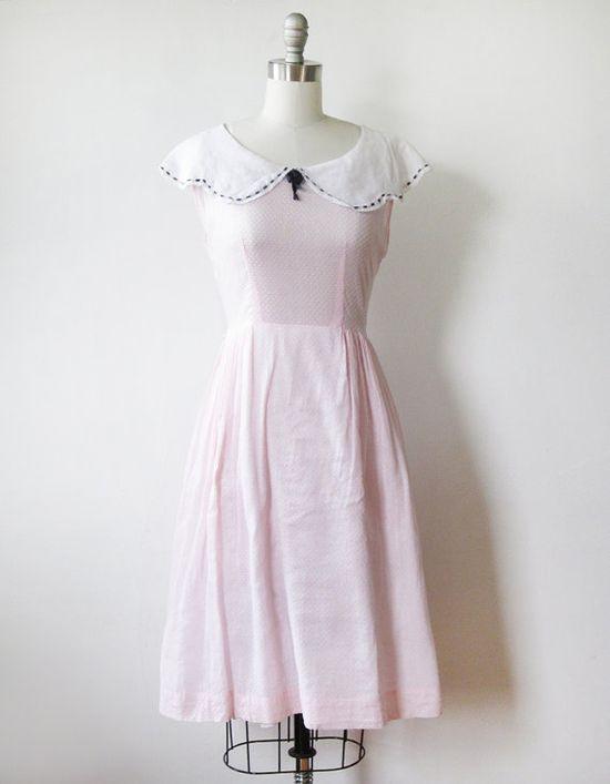 vintage 40s pink swiss dot dress