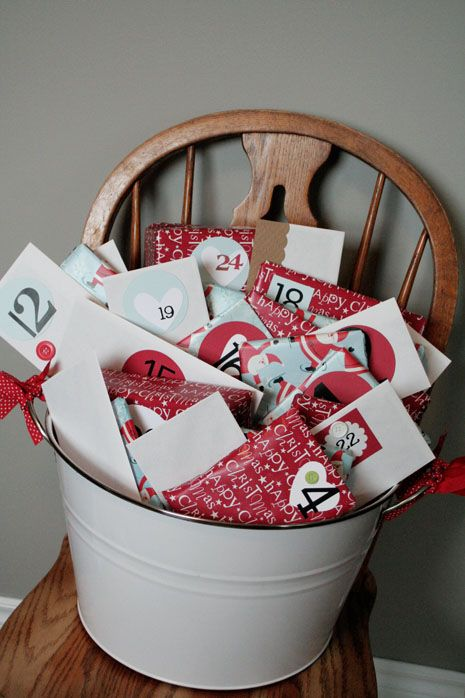 I love this, CHRISTMAS BUCKET...Kids unwrap an activity a day......write letters to Santa, make homemade ornaments, sort through toys to give to a shelter, go look at Christmas lights, Hot chocolate before bed, Christmas movie and so on. #christmas