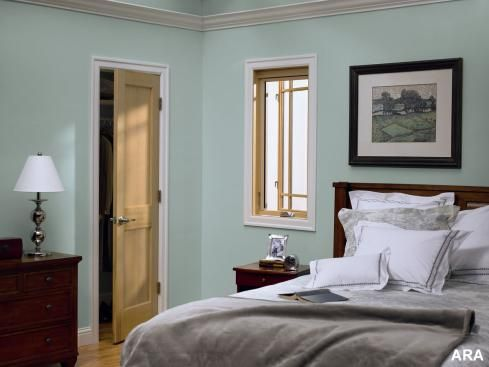 Duck egg and grey bedroom