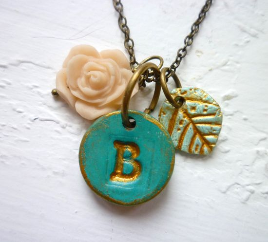 Letter necklace - Sea Green and Gold.