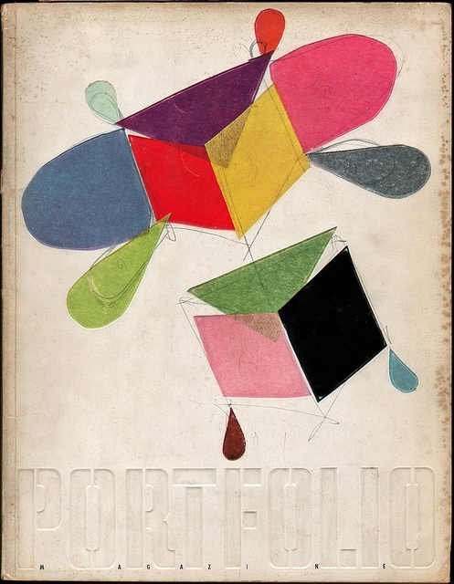 Portfolio Magazine 1950 - Design for a kite by Charles Eames. (with real tissue paper)