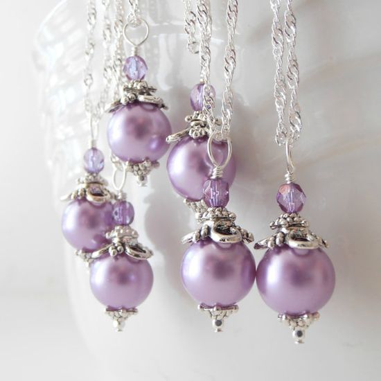 Light Purple Bridesmaid Jewelry Sets Handmade Beaded Pearl Necklace Wisteria Bridal Party Jewelry Purple and Silver via Etsy