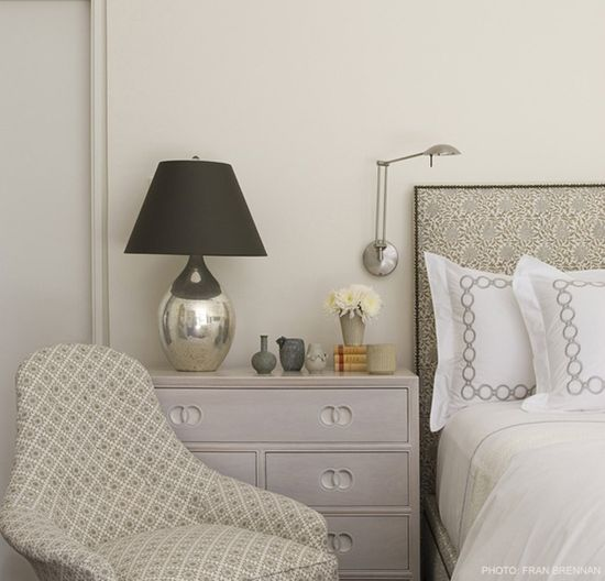 grey bedroom pattern mix; Ann Wolf via desire to inspire