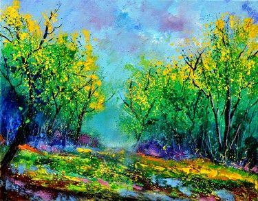 "Pol Ledent; Oil, 2012, Painting ""summer in the wood"""
