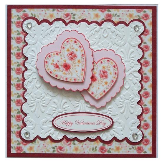 Handmade valentines card  emboss die cuts