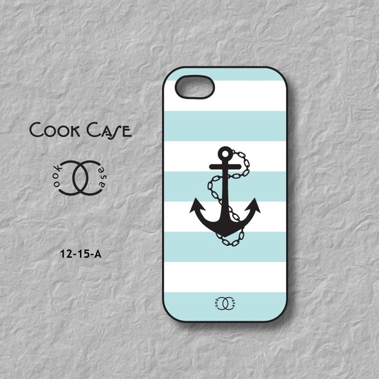 iPhone 5 case, anchor on stripes, cute, unique iPhone 5 case cover. $14.99, via Etsy.