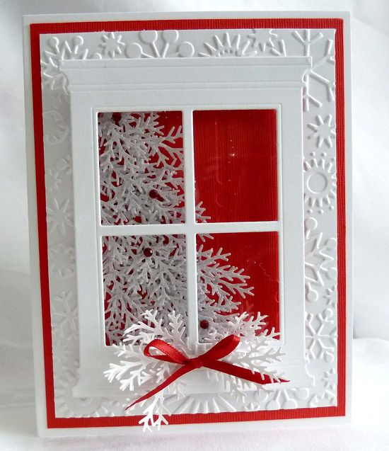 """Red & Silver Christmas Tree card """"The background layer are embossed with snowflakes. The window has a clear piece of acetate behind it to make it look like a realistic window"""""""