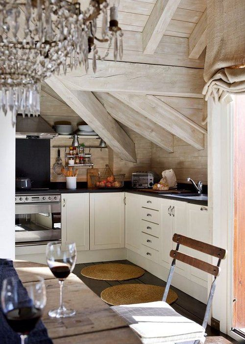 small kitchen, wooden beamed ceiling, chandelier