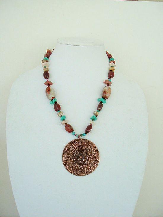 BOHO Southwest Necklace Turquoise Jewelry Cowgirl by BohoStyleMe