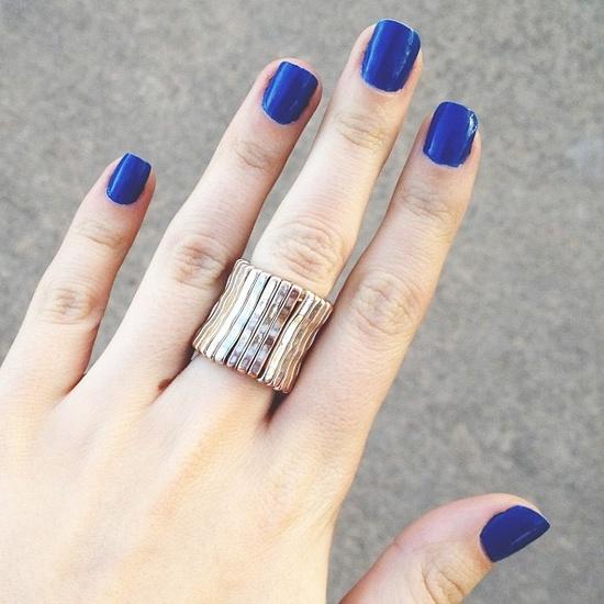 blue mani + ring.