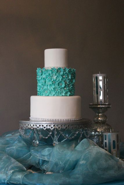 aqua flowers teal Wedding Cake by The Couture Cakery, via Flickr
