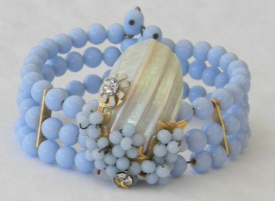 Vintage 1930s Miriam Haskell Schrager Style Glass Beads Rhinestones Seashells Coil Wire Filigree Bracelet. via Etsy.