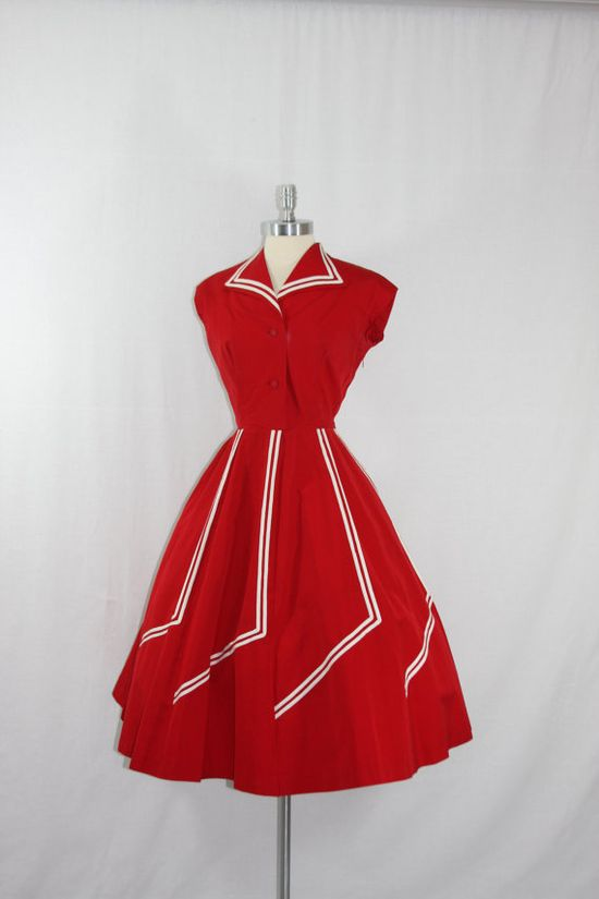 1950's Vintage Dress - Stunning Red with White Stripes Full Skirt Swing Frock