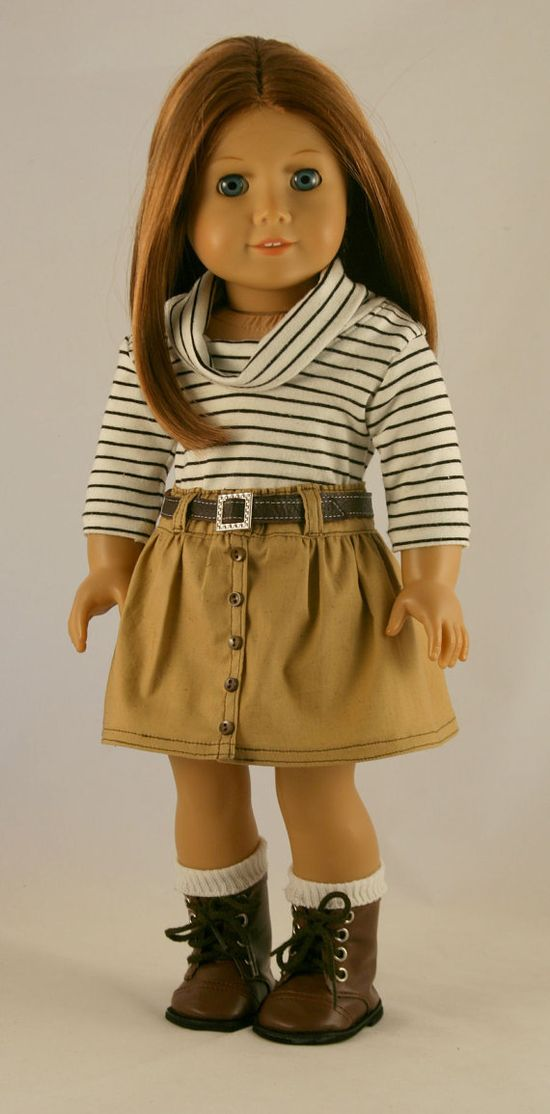American Girl Doll Clothes - Khaki Skirt, Striped Cowl, and Leather Belt $45.00