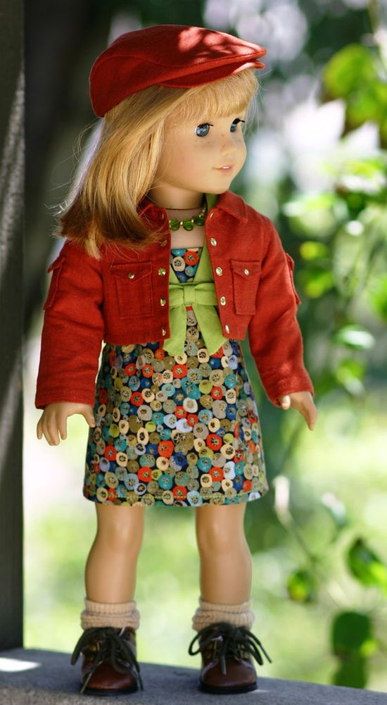 $85.00   Custom Order  American Girl Doll Clothes... Modern-Middy Dress, Cropped Jacket, Gatsby Cap and Necklace by Doll Closet Heirlooms