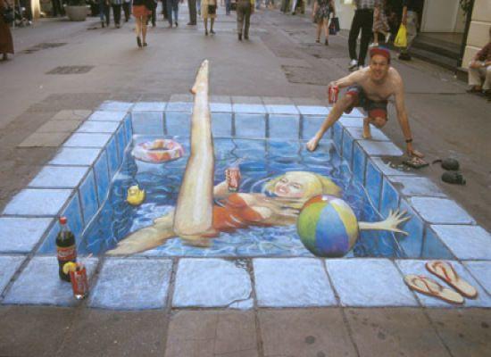3D sidewalk art