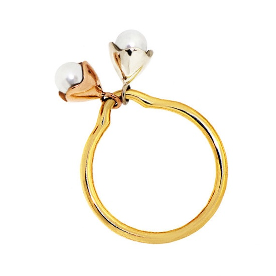 TWOSOME 18k Gold Pearl Ring Engagement Ring Unique by arosha, $760.00    Love this, want this!