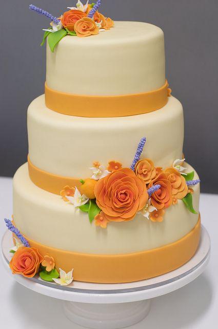 Orange Colored Rose Wedding Cake by studiocake, via Flickr