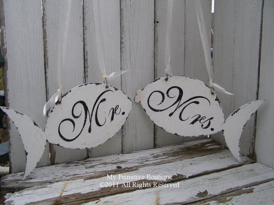 "vintage wedding sign - love the pout on the ""mrs."" fish :)"